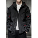 Mens Popular Simple Plain Multi Pockets Flap Pockets Casual Loose Zip Up Hooded Coat Jacket