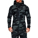 Mens Cool Outdoor Fashion Camo Printed Drawstring Hooded Zip Up Slim Fit Coat