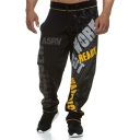 Guys New Stylish Letter Graffiti Drawstring Waist Loose Casual Sport Athletic Pants