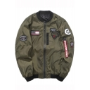 Guys Cool Letter Flag Badge Applique Stand Collar Long Sleeve Zip Up Bomber Jacket
