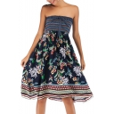 Retro Style Off The Shoulder Bow-Tied Front Floral Tribal Print Multi-Way Midi A-Line Holiday Beach Dress