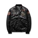 Cool Mens Letter Badge Applique Camo Print Stand-Collar Zip Up Leather Jacket