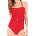 New Trendy Plain Halter Neck Ruched Pearl Patched One Piece Swimwear