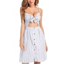 Light Blue Spaghetti Straps Sleeveless Striped Printed Bow-Tied Front Hollow Out Mini Cami Dress
