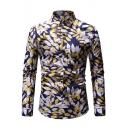 Summer Retro Leaf Pattern Spread Collar Long Sleeve Mens Casual Shirt