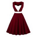 Fashionable Color Block Square Neck Sleeveless Midi A-Line Flared Dress