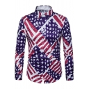 Men's New Stylish American Flag Printed Long Sleeve Slim Fit Button-Up Shirt