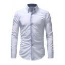 Fashionable Patchwork Long Sleeve Slim Fit Button-Down Shirt for Men