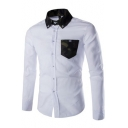 Mens New Trendy Camo Collar One Pocket Long Sleeve Slim Fit Button-Down Shirt