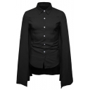 Mens New Stylish Cool Simple Plain Button Front Slim Fit Cape Shirt