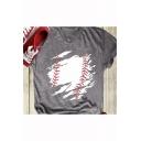 Womens Cool Baseball Printed Round Neck Popular Short Sleeve Grey T-Shirt