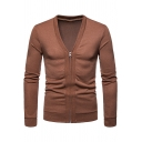 Men's New Trendy Plain Long Sleeve Zip Closure V-Neck Slim Fit Cardigan