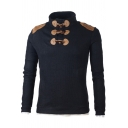 Fashion Toggle Button Stand Collar Patched Shoulder Long Sleeve Solid Color Fitted Knitwear Sweater