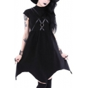 Vintage Gothic Punk Style Ring Patched Cap Sleeve Plain Midi Asymmetric Dress