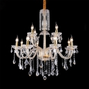 Vintage Candle Chandelier 12 Lights Metal Chandelier Light with Clear Crystal Decoration in Brass