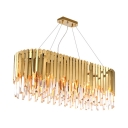 Contemporary Rectangle Chandelier Light 10 Lights Metal Chandelier with Clear Crystal in Brass