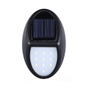 Oval Solar Wall Light 10 LED Waterproof Dusk to Dawn Sensor Security lighting in Black for Yard