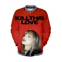 Popular Girl Group Fashion Letter KILL THIS LOVE Rib Stand Collar Button Down Baseball Jacket