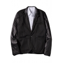 Mens Black Lattice Print PU Patched Long Sleeve Notched Lapel Collar Single Button Blazer
