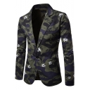 Mens Trendy Camo Floral Printed Notched Lapel Long Sleeves Single Button Green Casual Blazer Suit