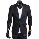 Basic Plain Long Sleeve Notched Lapel Collar Single Button Linen Blazer Jacket for Men