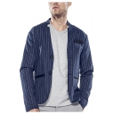 Men's Classic Striped Print Stand Up Collar Long Sleeve Double Button Front Casual Blazer Coat