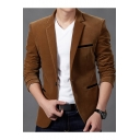 Men's Plain Single Button Notch Lapel Split Back Long Sleeve Slim Fit Corduroy Blazer Suit