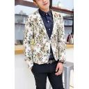 Mens Stylish Floral Print Long Sleeve Single Button Notched Lapel Split Back Skinny Suit Blazer