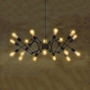 18 Lights Open Bulb Chandelier Industrial Metal Hanging Light in Black for Dining Room