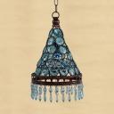 Blue/Amber Crystal Hanging Lighting 1 Light Vintage Ceiling Pendant Light for Hallway
