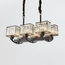 Rectangle Hanging Pendant with Clear Crystal Shade 6/8 Lights Modern Chandelier in Black for Living Room