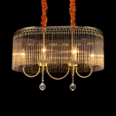 6-Light Candle Chandelier Lighting with Oblong Shade Transitional Crystal Hanging Light in Aged Brass