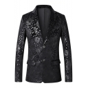 Mens Stylish Tiger Printed Notched Lapel Collar Double Buttons Long Sleeve Black Suit Blazer