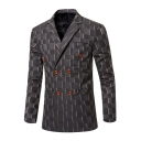 Stylish Check Printed Lapel Double Breasted Long Sleeve Split Back Wedding Suit Blazer for Groom
