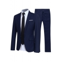 Mens Business Plain Long Sleeve Notched Lapel Single Button Slim Wedding Dress Two-Piece Suit