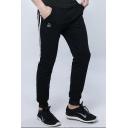 Mens Street Style Logo Print Striped Side Drawstring Waist Casual Slim Fit Sweatpants