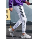 Trendy Letter Embroidered Stripes Printed Side Drawstring Waist Mens Casual Sport Sweatpants