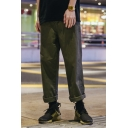 Street Style Plain Zipper Fly Casual Loose Straight Pants For Men