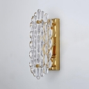 Single Light Square Wall Lamp with Clear Crystal Modern Metal Sconce Light in Gold for Kitchen