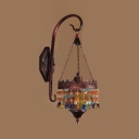 Single Light Drum Wall Sconce Vintage Colorful Crystal Sconce Light in Rust for Hallway