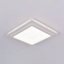 Square Flush Ceiling Light Contemporary Clear Crystal Decoration LED Flush Light in White for Living Room