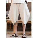 Retro Chinese Style Casual Plain Cropped Bloomers Harem Pants for Men
