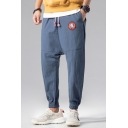 Mens Street Style Cool Patchwork Drawstring Waist Loose Fit Linen Track Pants