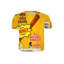 Popular Letter ALL NATURAL TOBACCO CIGARS Print Short Sleeve Yellow T-Shirt