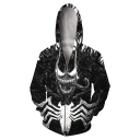 Mens Black 3D Printed Casual Loose Long Sleeve Zip Up Pullover Hoodie