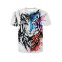 Mens Summer Fashion 3D Colorful Tiger Printed Round Neck Short Sleeve White Tee