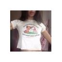Fashion Cat Letter Embroidery Short Sleeve Velvet Slim White Cropped T-Shirt