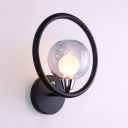 Black Globe Wall Sconce Single Light Industrial Glass Wall Light for Living Room Hallway
