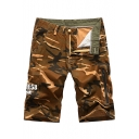 Mens Cool Camouflage Pattern Zip Pocket Side Cotton Loose Fit Military Shorts