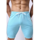 Mens Stylish Contrast Stripe Side Drawstring Waist Slim Fit Athletic Shorts